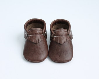 Leather Baby Moccasins in Walnut