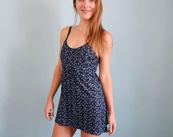 90s Blue Embroidered Floral Slip Dress/Mini Dress