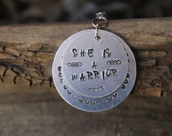Custom Warrior Necklace/ She Is A Warrior Stamped Necklace/ Custom Stamped Necklace/ Custom Stamped Jewery/ Metal Stamped Necklace/ Inspire
