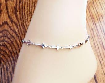 Silver Cross Anklet - Cross Ankle Bracelet - Christian Jewelry - Cross Jewelry - Religious Jewelry - Christian Bracelet - Christian Gift
