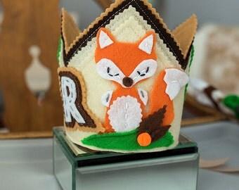 Fox Birthday Crown, Fox Birthday Hat, Birthday Crown Fox, Fox Birthday Decor, 1st Birthday Fox, Woodland  Birthday  Crown, Fox Crown