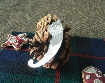"Silver Scottish Kilt Pin  - ""Horn"". Unusual Modern Kilt Pin for Highland Wear."