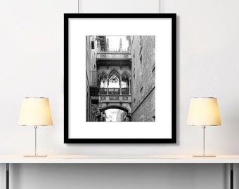 Barcelona, Gothic Quarter, Black and White, Spain Photography, Travel Wall Art, Europe Decor, Architecture, Square Print, Vertical Print