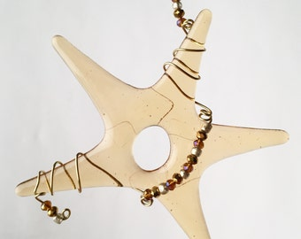 Christmas, Holiday Star Ornament with Wired Wrapped Beads and Gold Fused Glass