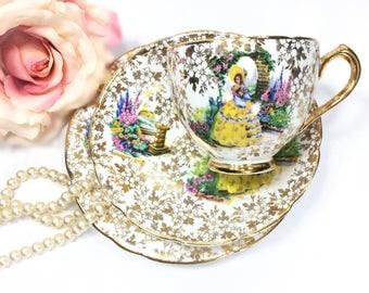 Gold Chintz Crinoline Lady Tea Trio, Garden House Bone China Teaset, Crinoline English Tea Cup, Saucer, Plate For Tea Time, Tea Party #A872