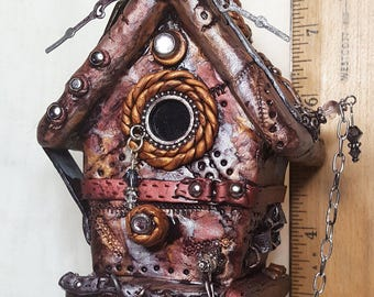 Steampunk Polymer Clay Hanging Birdhouse