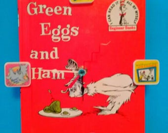 Repurposed Dr. Seuss Book Clock, Green Eggs And Ham, Handmade Clock, Recycled Book Clock, Children's Book Clock, Upcycled, Made By Mod.