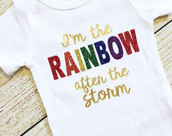 Rainbow Baby Bodysuit, Baby Girl, Baby Shower, Coming Home Outfit, Infertility Pregnancy Announcement, After the Storm