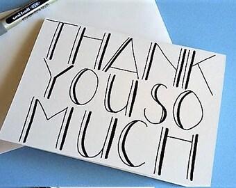 Thankyou So Much Card - hand drawn typography card - a6 blank card, thank you card, thanks card, thank you teacher