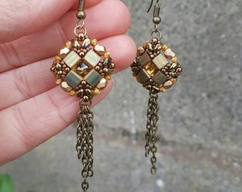 Crystal Earrings, Small Square Chain, Bronze Brown Yellow, Beadwork Beads Beaded, Geometric Drop Dangle Earrings,