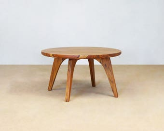 Mid Century Modern, Round Side Table, Handcrafted, Sustainably Sourced Tropical Hardwood, Elegant, Teak, Living Room, Wood Furniture, coffee