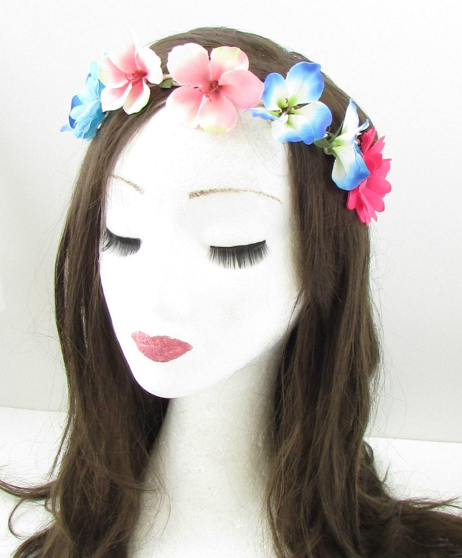 Blue Pink Hibiscus Flower Headband Hair Crown Festival Garland