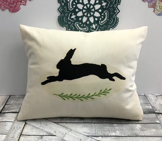 Easter Pillow, Leaping Rabbit,Rabbit Pillow,Spring Decor,Spring Pillow,Rabbit Pillow, Easter Decoration, Canvas Pillow, Rustic Easter Decor