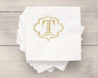 Bar Cart Napkins | Wedding Napkins | Personalized Napkin | Monogram Napkins | Bridal Napkins | Custom Foil Napkins | Metallic Foil Napkins
