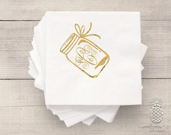 Wedding Napkins | Monogram Napkins | Personalized Napkins | Bridal Napkins | Cocktail Napkins | Canning Jar Napkins