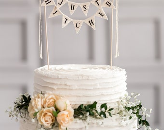 Just Hitched Wedding Cake Topper Banner, rustic wedding cake topper, wedding vintage cake toppers, rustic wedding decor, rustic cake topper