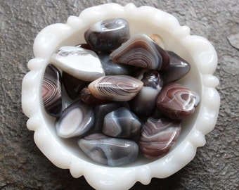 Botswana Agate, Gray, Tumbled Stone, Large