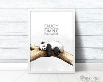 "Panda bear wall art ""Enjoy the Simple Pleasures"" cute panda poster Mothers day gift - mothers day print panda gifts retirement gift"