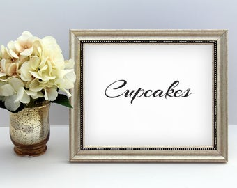 Cupcakes Wedding Sign // Printable // Black Wedding Signs // DIY Instant Download // Drinks Sign // Black and Gold