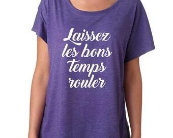 Laissez Les Bons Temps Rouler Shirt. Super Soft and Flowy, Off The Shoulder Women's Tee. Mardi Gras Shirt. New Orleans T-shirt.