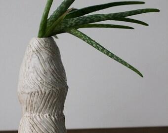 White Afrikaans Stem Vase, Scored Stoneware