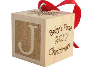 Baby's First Christmas Ornament, Wooden Baby Block, Baby Ornament, Baby's First Christmas Gift, Baby Christmas Keepsake