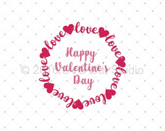 Valentines Day Monogram SVG, Valentines Day SVG, Love Monogram Frame SVG, Heart svg Cut Files for Cricut and Silhouette, svg files