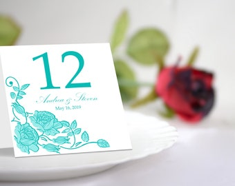 Aquamarine Roses Table Number Tent Template. Printable Floral Design.