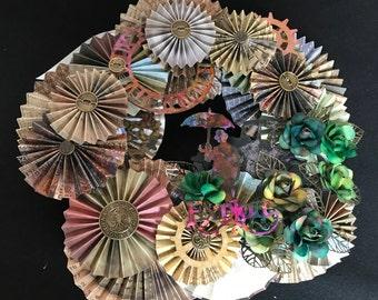 steampunk paper rosette wreath