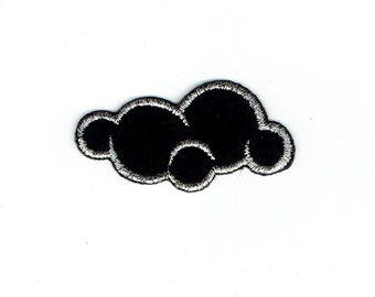 Black Cloud - Silver Lining - Weather - Nature - Iron on Applique - Embroidered Patch - 695425B