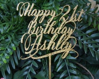 Happy Birthday Name Personalized Cake Topper, Birthday Gift, Rustic-Chic, Elegant, Centerpiece, Photo Prop