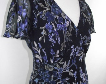 Vintage tea dress by Viyella blue silk mix bias cut size small - petite cut
