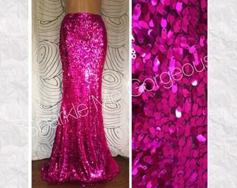 Fuchsia Pink Sequin Maxi Skirt