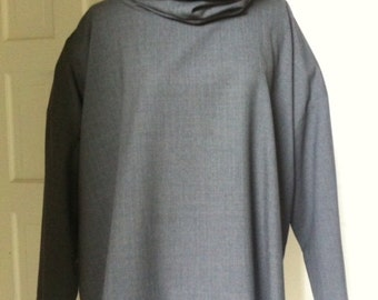 ESKANDAR Gray Glen Plaid Pantsuit - short wide cowl neck top with matching pant - Size 1- lightweight fine wool