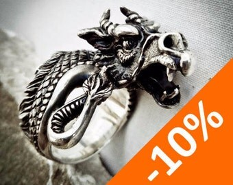 Dragon ring - Sterling Silver - Free Shipping - 10% SPRING DISCOUNT