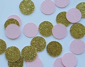 Pink and Gold Confetti... Party Decorations... Baby Girl... Baby Shower