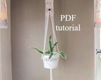 Macrame plant hanger digital download, macrame tutorial,  macrame PDF, macrame pattern, DIY plant hanger, rope hanger pdf, plant hanger pdf
