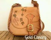 Vintage Large Leather Tan Satchel Tooled Field Mouse Shoulder Bag Boho Folk