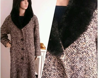 Vintage 50s 60s Black Faux Fur Collar Boucle Wool Coat Chic Oversize L / UK 16 18 / EU 44 46