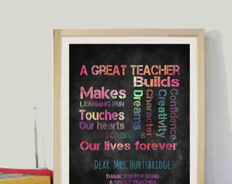 Chalkboard Teachers Gifts Year end gifts Teacher quotes Personalised Teacher Gifts Chalkboard 8x10 Printable Gifts for Teacher Printables