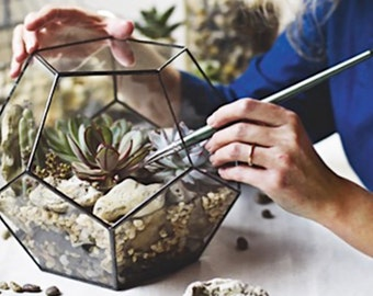 Large Geometric Glass Terrarium Container, Succulent Planter, Wedding Centerpiece, Moss Terrarium, Dodecahedron, Stained Glass Planter