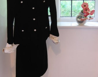 Chanel Boutique Vintage Black Velour Skirt Suit
