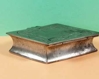 Diamond Shaped Box - Pewter Box - French Vintage - Trinket Box