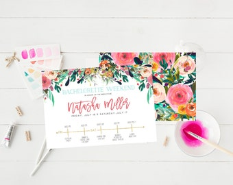 Bachelorette party Weekend Invitation Hens party Invitation Watercolor Floral Flowers Bright Bridal Shower Invitation itinerary Card