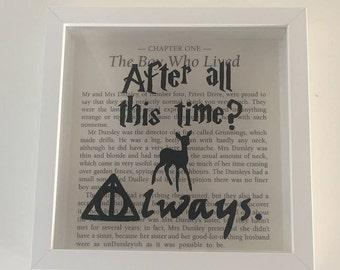 Harry Potter, snape quote, art, hand painted, book, framed, patronus, doe, deathly hallows