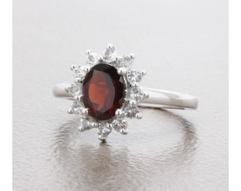 1.60 Carat Natural Almandine Garnet and White Topaz Sterling Silver Ring, Anniversary Ring, Promise Ring, Engagement Ring