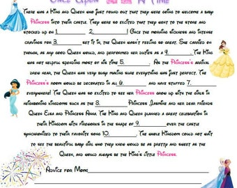 Disney Baby Shower Mad Libs - A baby shower game for a little Princess! - Instand Download