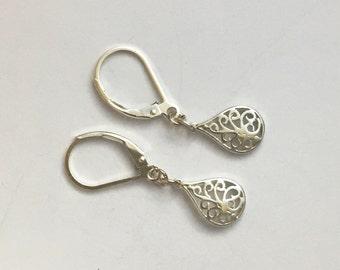 Sterling silver earrings, dainty earrings, sterling lever backs, .925 silver