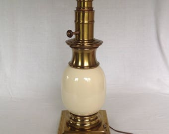Stiffel Ostrich Egg Brass and Porcelain Lamp