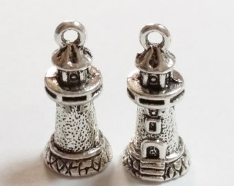 6pcs Lighthouse Charms - 3d Antique Silver 20.5x9mm Jewelry Supplies - K10461